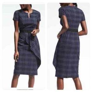 BANANA REPUBLIC Seersucker Plaid Ruffle Dress